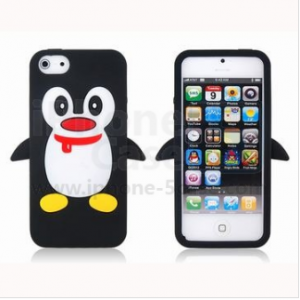 Black Cute Penguin Pattern Protective Case for iPhone 5
