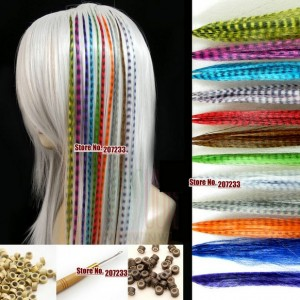 Grizzly Rooster Feather Hair Extensions - Red Mix