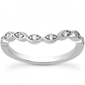 Round Diamond Cut Engagement Band at iBroggiotti