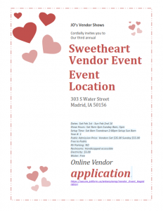 Sweetheart Vendor Show- One vendor opening left