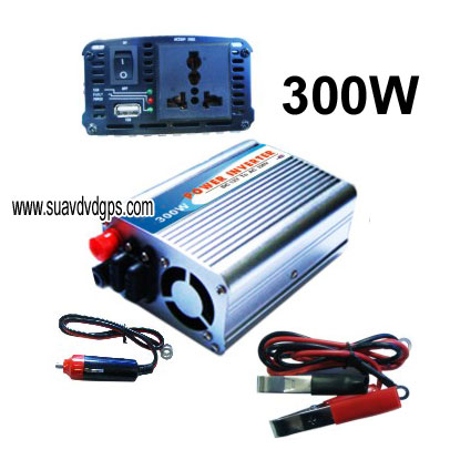 300W CAR POWER INVERTER ADAPTER 12V DC to 110V or 220V AC with USB CAV-300W