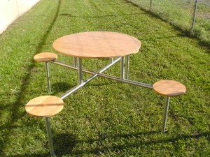 BAMBOO AND STAINLESS STEEL PATIO/PICNIC TABLE